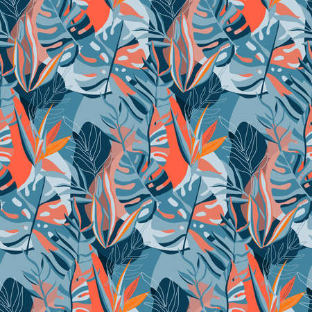 Trendy creative summer seamless patterns with floral exotic tropical elements, palm leaves