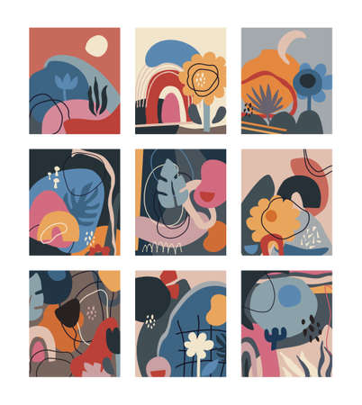 Collection of creative cards with abstract shapes and geometric elements.