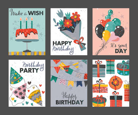 Set of beautiful colorful birthday invitation or greeting cards with balloons, cake, gift boxes, flowers, confetti and hand drawn texture.