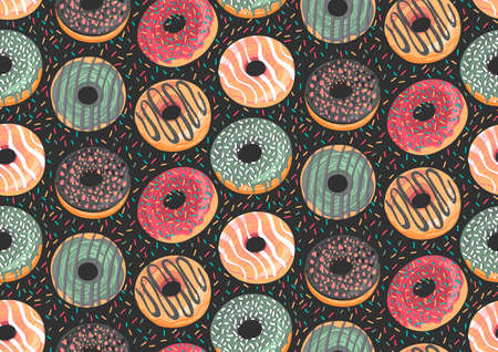 Seamless pattern with colorful donuts. Glaze, sprinkle and chocolate donuts with hand drawn texture.