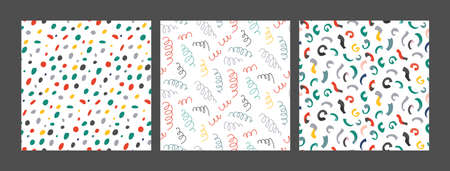 Collection of   colorful abstract holiday seamless pattern. Stars, flag garland, confetti, heart with hand drawn texture.