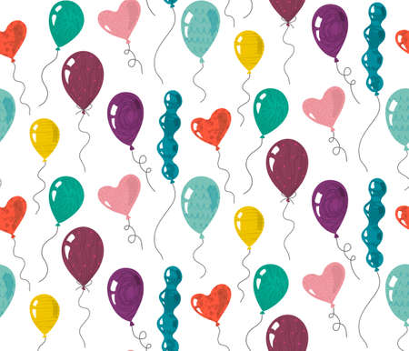 Seamless pattern with doodle balloons with hand drawn texture.