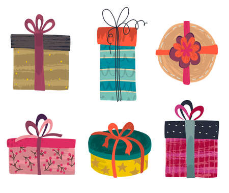 Vector collection of colorful gift boxes with different hand drawn textures. Holiday, Birthday set