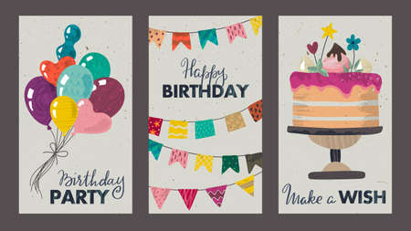 Set of beautiful colorful birthday invitation or greeting cards with balloons, cake, flag garland and hand drawn texture. 向量圖像