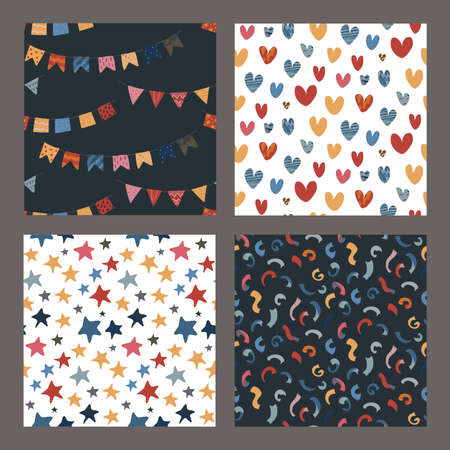 Collection of vector colorful abstract holiday seamless pattern. Stars, flag garland, confetti, heart with hand drawn texture.