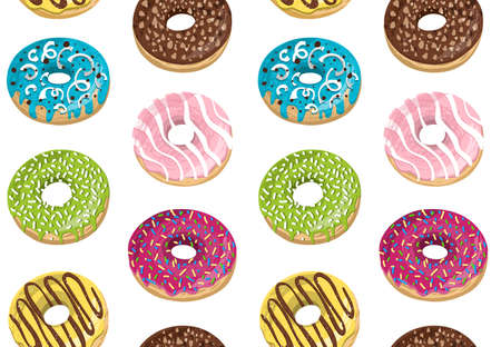 Vector seamless pattern with colorful donuts. Glaze, sprinkle and chocolate donuts with hand drawn texture. 版權商用圖片 - 151198789
