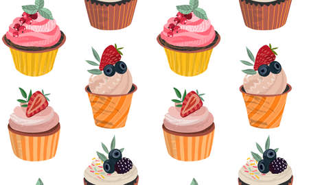 Vector seamless pattern with delicious cupcakes and sprinkles muffins with berries