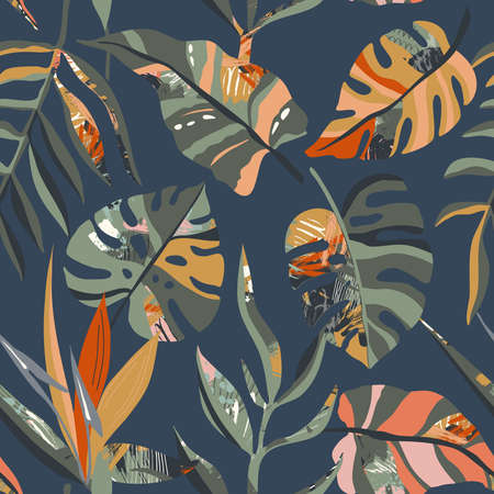 Vector trendy creative summer seamless patterns with floral exotic tropical elements, palm leaves