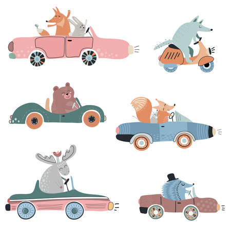 Cute vector set of funny forest animals on cars. 向量圖像