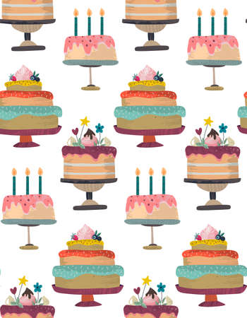Vector seamless pattern with Birthday party celebration cakes. Endless background with delicious beautiful sweet baked cakes 版權商用圖片 - 152002718
