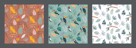 Set of three cute vector seamless pattern with leopard animals exotic birds, parrot, toucan and tropical plants.