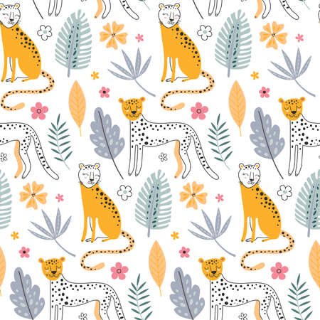 Cute vector seamless pattern with leopard animals and tropical plants.