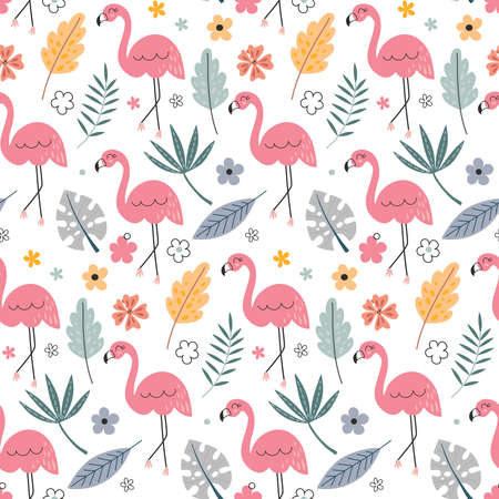 Cute vector seamless pattern with flamingo and tropical plants.