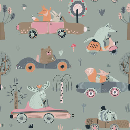 Cute vector seamless pattern with funny forest animals on cars