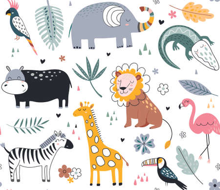 Cute vector seamless pattern with safari animals and tropical plants