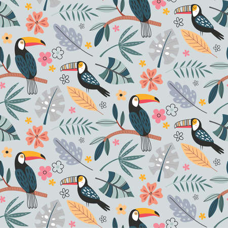 Cute vector seamless pattern with exotic birds, parrot, toucan and tropical plants. 版權商用圖片 - 152610185