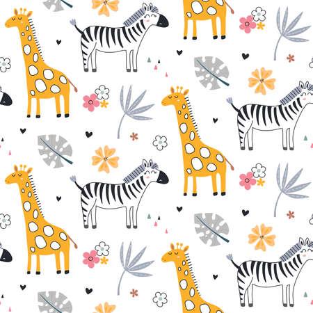Cute vector seamless pattern with safari animals, zebra, giraffe and tropical plants. 向量圖像