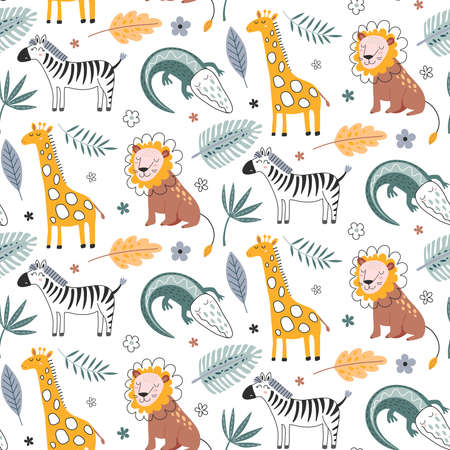 Cute vector seamless pattern with safari animals, alligator, zebra, lion, giraffe and tropical plants. 向量圖像