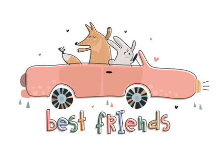 Cute vector illustration of funny fox and rabbit on car.