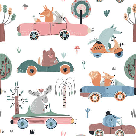 Cute vector seamless pattern with funny forest animals on cars 版權商用圖片 - 153416742