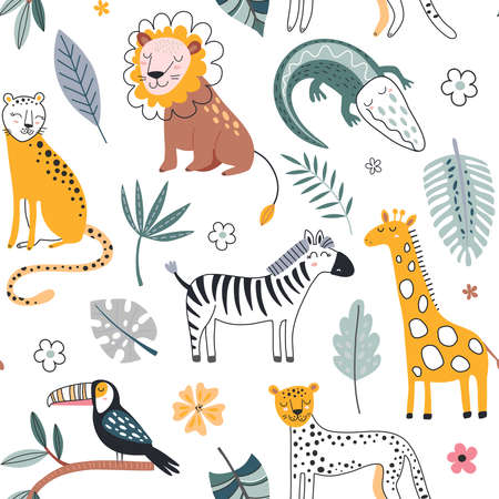 Cute vector seamless pattern with safari animals, alligator, leopard, zebra, lion, giraffe and tropical plants.