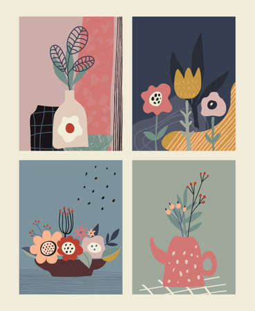 Set of vector colorful collage contemporary cards or posters. Autumn nature collection.