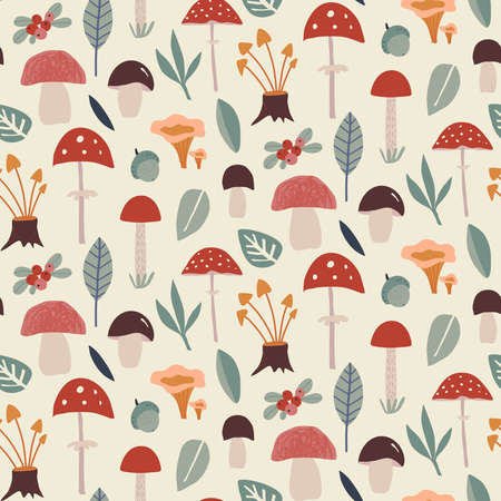 Vector colorful autumn natural seamless pattern with mushrooms. 向量圖像