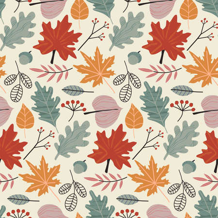 Vector colorful autumn natural seamless pattern with fall leaves and berries.