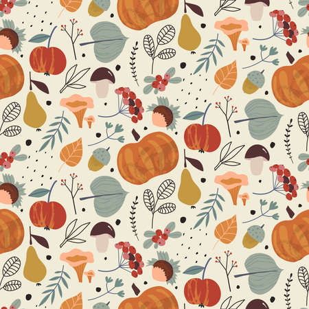 Vector colorful autumn natural seamless pattern with fall leaves, fruits, pumpkins and mushrooms 向量圖像