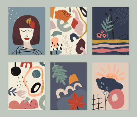 Set of vector colorful collage contemporary cards or posters. Autumn nature collection. Modern abstract shapes