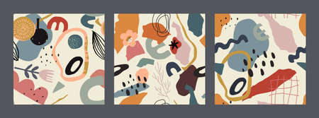 Set of vector colorful abstract natural seamless patterns with cut pieces and hand drawn texture