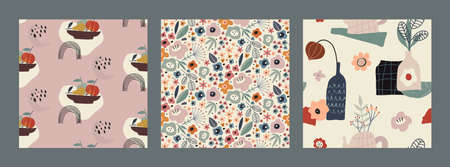 Set of vector colorful abstract natural seamless patterns with flowers, fall leaves and fruits, pear and apple.