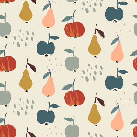 Vector colorful autumn natural seamless pattern with fruits, pear and apple.