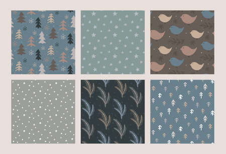 Set of vector Christmas seamless patterns with hand drawn simple elements