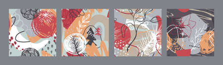 Set of vector Christmas seamless patterns with hand drawn abstract elements