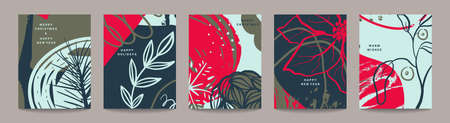 Vector collection of trendy creative Christmas cards with winter floral elements and abstract forms