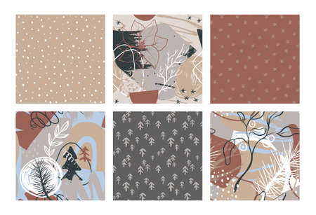Set of vector Christmas seamless patterns with hand drawn simple and abstract elements 向量圖像