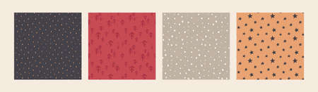 Set of vector Christmas seamless patterns with hand drawn simple elements 版權商用圖片 - 158676863