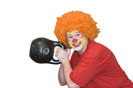 The clown with a weight Stock Photo