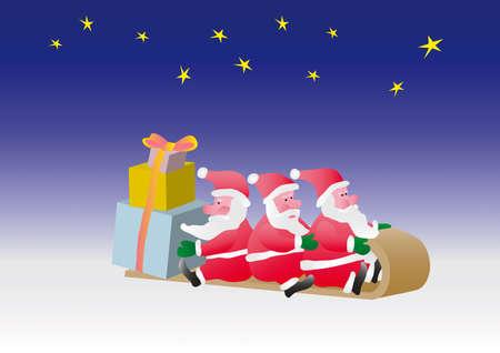 Three Santa carry on sledge surprise gifts. Illustration