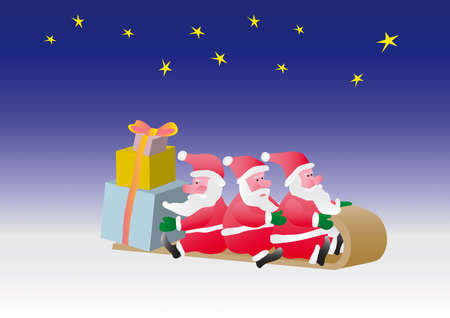 Three Santa carry on sledge surprise gifts. Illustration