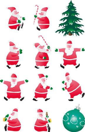 Set of Santa isolated on a white background