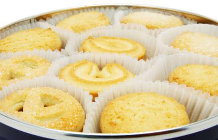 Danish biscuit in a round box closeup
