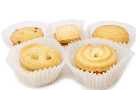 Danish biscuit on white background