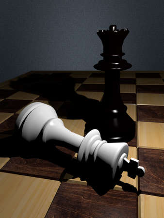 A white chess king is attack by a black chess queen. Stock Photo