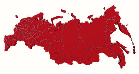 Map of the Russian Federation with the borders of regions in perspective Stock Photo