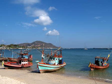 shrimp boat: Fishing boats on the beach, Ko sichang Stock Photo