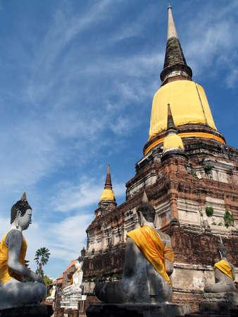 chaimongkol: Wat Yai Chaimongkol Ayutthaya Historicalpark Thailand Stock Photo