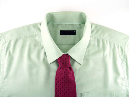 red tie: green shirt with a red tie