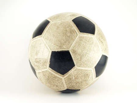 dirty football: old soccer ball on white background